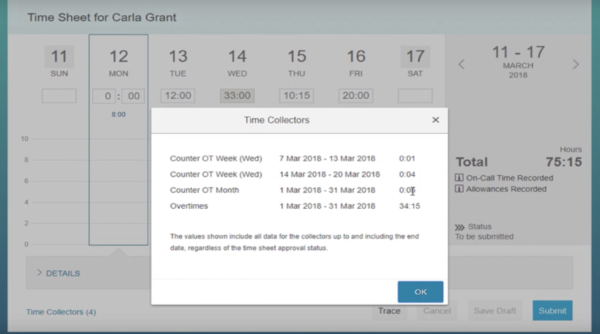 SuccessFactors Q2 2018 Employee Central time sheet overview.