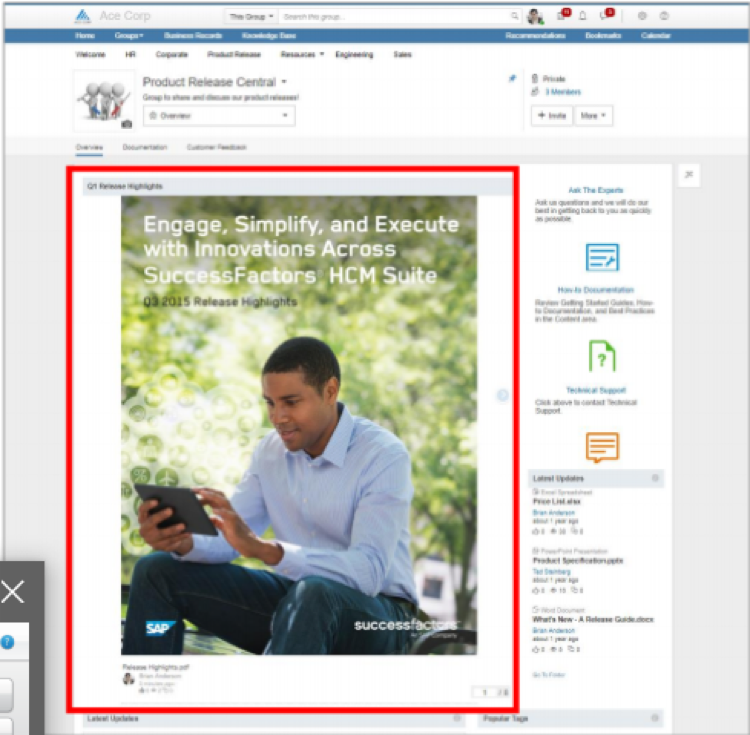 SAP Jam slideshow widget Q1 2019 release